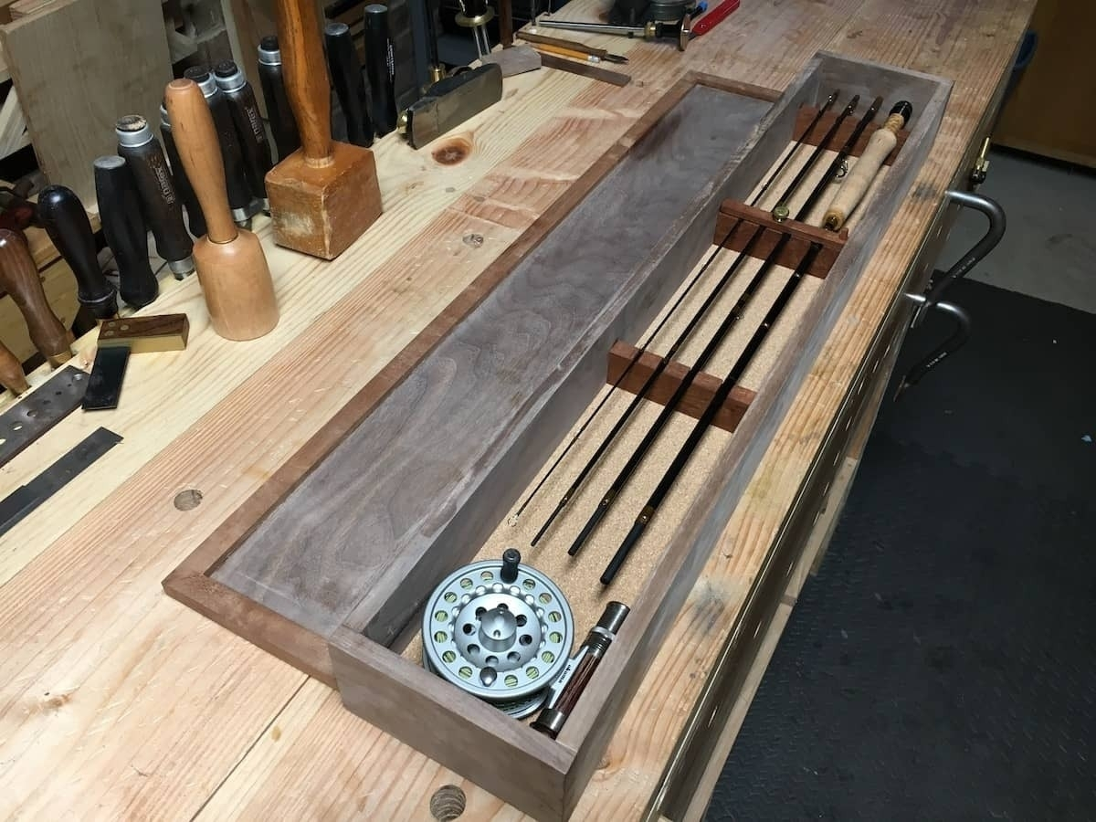 Interior of box with rod and reel in place
