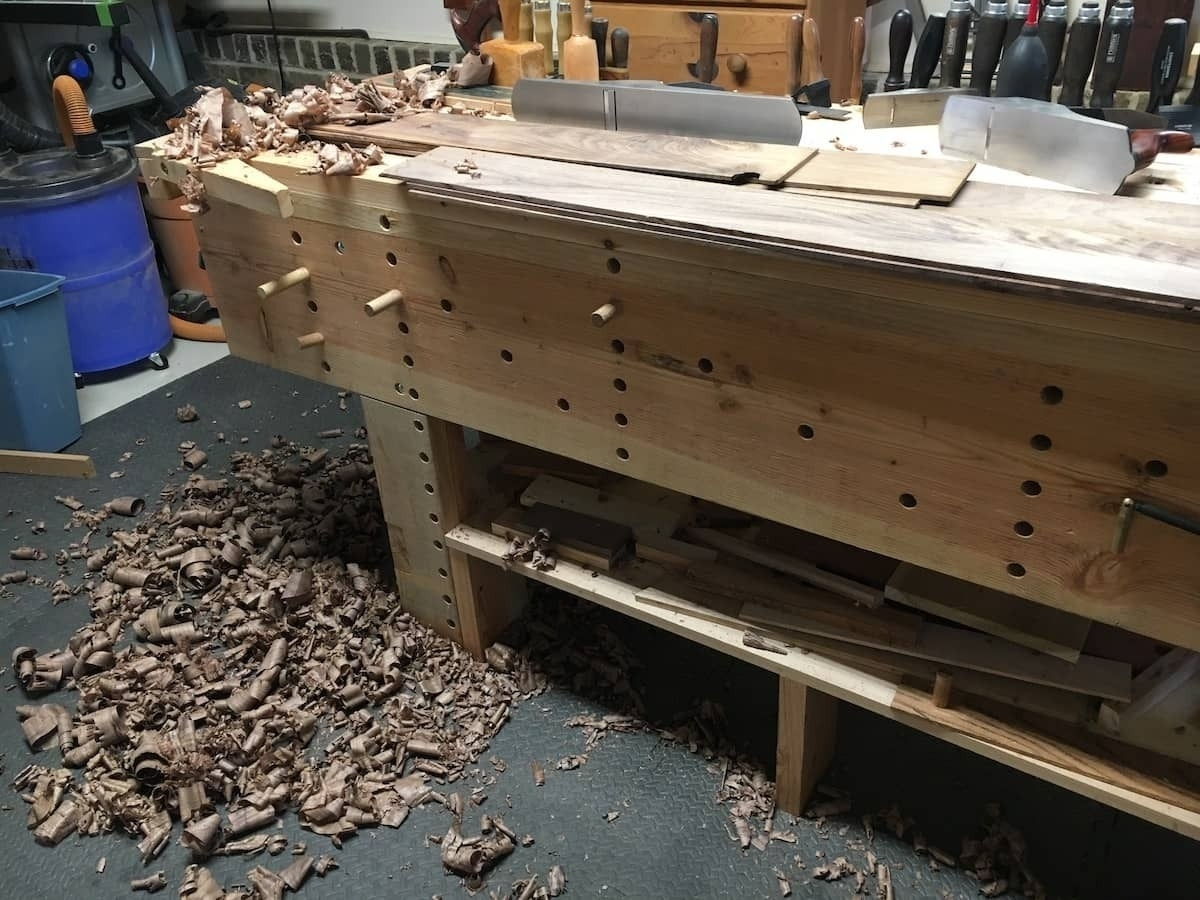 Stack of walnut boards ripped and planned.