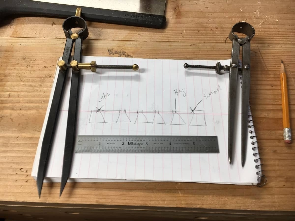 Paper sketch of dovetail set-up